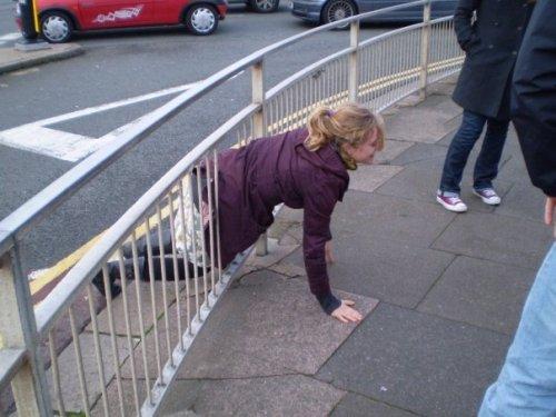 Weekend away 2010 - Brighton - Jessie gets stuck in a fence