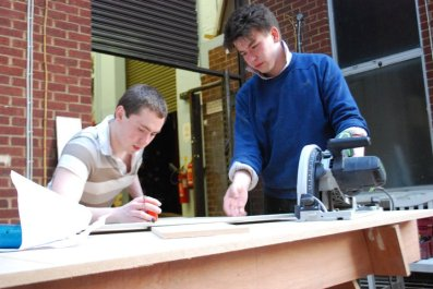 Behind the scenes - Princess Ida - the boys try to figure out how to use the power tools